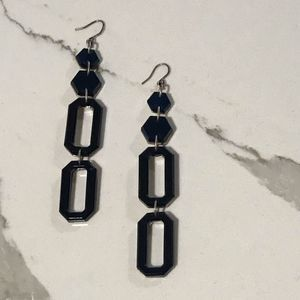 Kenneth Cole Reaction Navy Glass Dangling Earrings